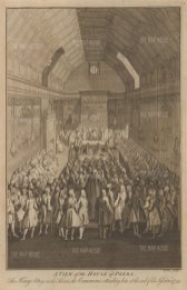 House of Lords: View of the interior with the Commons and King George II in attendance.