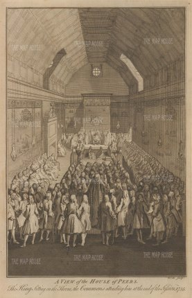 View of the interior with the Commons and King George II in attendance.