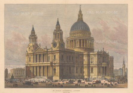 """Illustrated London News: St Paul's Cathedral. 1883. A hand coloured original antique wood engraving. 20"""" x 14"""". [LDNp10736]"""