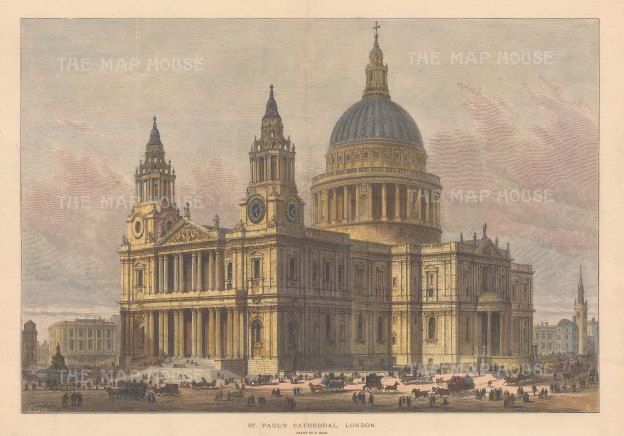 "Illustrated London News: St. Paul's Cathedral. 1883. A hand coloured original antique wood engraving. 20"" x 14"". [LDNp10736]"