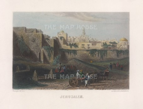 "Garnier: Jerusalem. 1876. A hand coloured original antique steel engraving. 6"" x 4"". [MEASTp1682]"