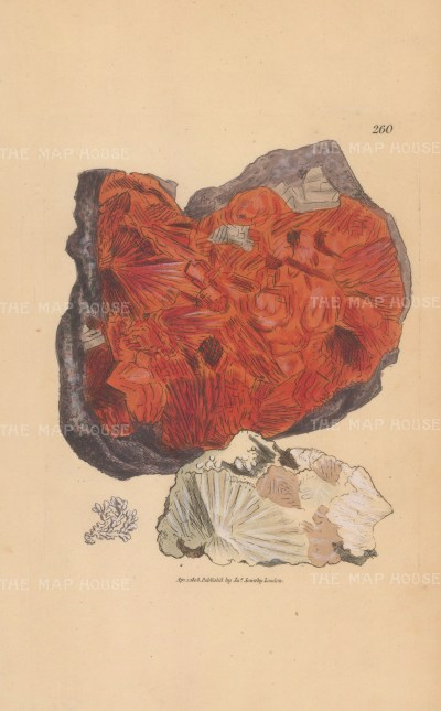 Red stillbite or zeolite from Hall Hill, Scotland.