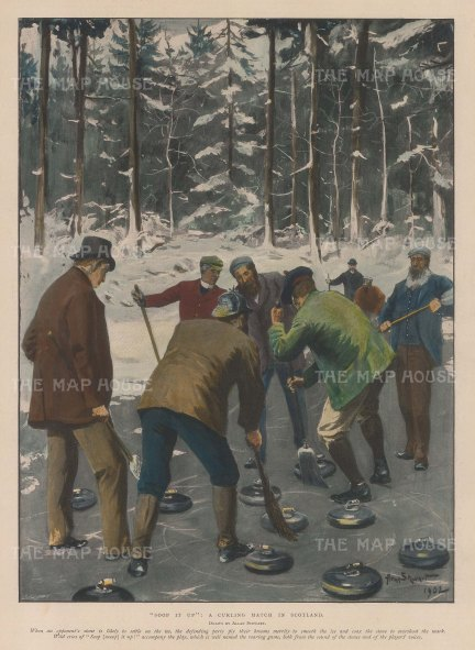 """Illustrated London News: Curling. 1903. A hand coloured original antique photo-lithograph. 10"""" x 13"""". [SPORTSp2114]"""