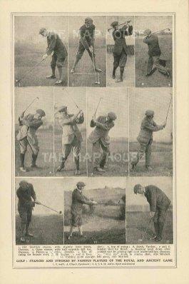 """Anonymous: Famous Golfers. c1920. An original antique photolithograph. 4"""" x 7"""". [SPORTSp3502]"""