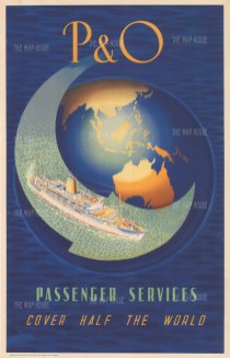 P & Cruises Passenger Services Cover Half of the World: Promotional poster for Peninsular and Oriental cruises with a map of Southeast Asia and Australia.