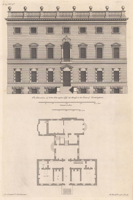 "Campbell: Plumptre House, Nottingham. 1720. An original antique copper engraving. 10"" x 15"". [ARCHp913]"