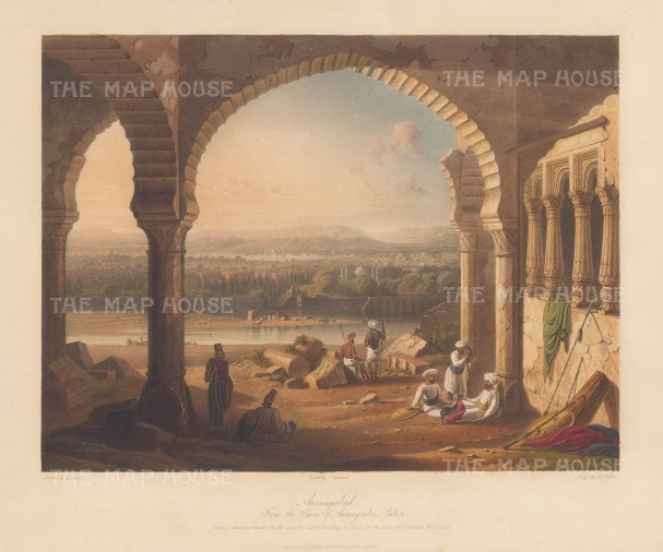 SOLD Maharashtra: Aurungabad. Panoramic view from within the ruins of the Palace of Aurangzeb, last of the Mughal emperors.
