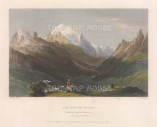 View towards Chamonix with Mont Maudit, Mont Blanc, Dome du Gouter and Aiguille du Gouter.