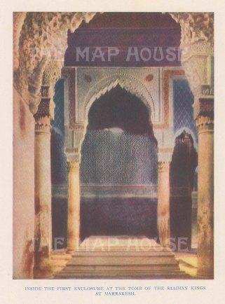 """Vernon: Kasbah Mosque, Marrakesh, Morocco. 1927. An original colour vintage photo-lithograph. 4"""" x 5"""". [AFRp1428]"""