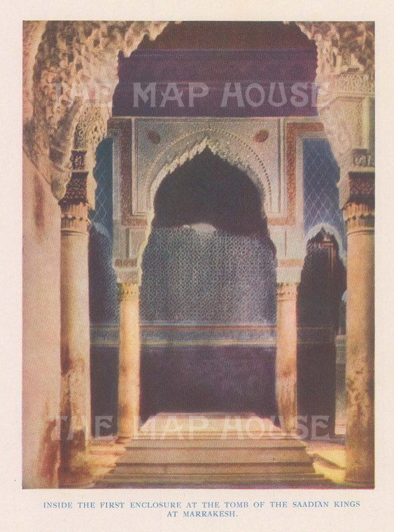 "Vernon: Kasbah Mosque, Marrakesh, Morocco. 1927. An original colour vintage photo-lithograph. 4"" x 5"". [AFRp1428]"