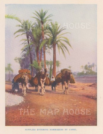 "Vernon: Marrakesh, Morocco. 1927. An original colour vintage photo-lithograph. 4"" x 5"". [AFRp1429]"