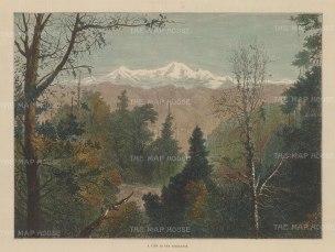 "Illustrated London News: Himalayas. c1889. An original hand coloured antique wood engraving. 13"" x 9"". [INDp1327]"