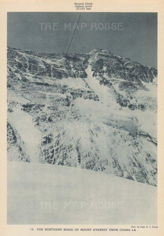 Mount Everest: Northen Ridge from Chang La. 1922 British Expedition.