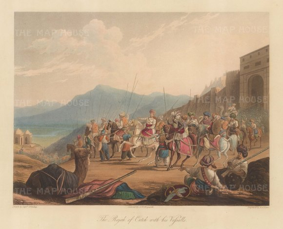 Gujaret: Bhuj. Rajah of Cutch and his Vassalls. Cavalry departing from the fortress at the capital Bhuj. After Capt. Grindlay
