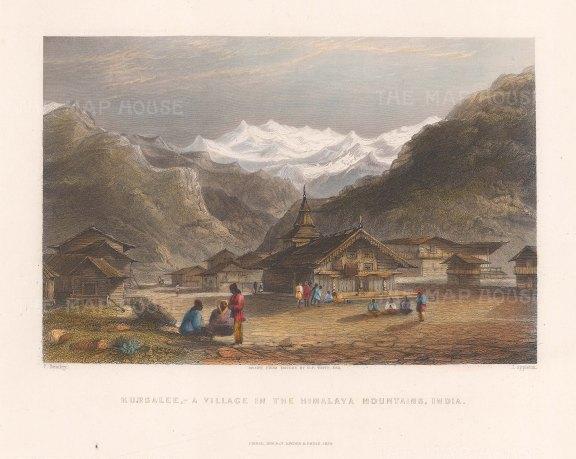 "White: Kursalee. 1838. A hand coloured original antique steel engraving. 8"" x 6"". [INDp1402]"