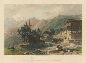 "White: Khandoo. 1838. A hand coloured original antique steel engraving. 8"" x 6"". [INDp1469]"