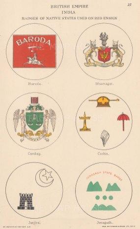 Badges of Native States used on Red Ensign: Baroda, Bhavnagar, Cambay, Cochin, Janjira and Junagadh.
