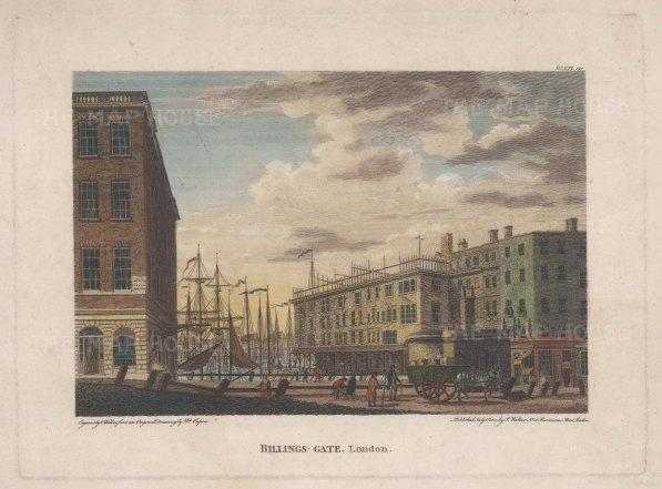 "Caoin: Billinsgate. 1801. A hand coloured original antique steel engraving. 7"" x 5"". [LDNp10774]"