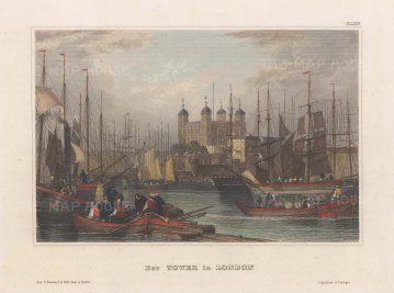 """Meyer: Tower of London. 1848. A hand coloured original antique steel engraving. 6"""" x 4"""". [LDNp10775]"""