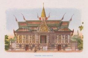 """Nicolas: Theatre Indo-Chinois. 1900. An original antique chromolithograph. 6"""" x 4"""". [SEASp1731]"""
