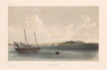 Malaysia. View of Malacca City from the Straits. After Barthélemy Lauvergne, one of the artists on the voyage of La Bonite 1836-7.