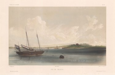 Malaysia: View of Malacca City from the Straits. After Barthélemy Lauvergne, one of the artists on the voyage of La Bonite 1836-7.
