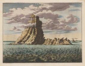 Canary Islands: Tenerife. Ananga Mountain range. View of the peak of the Teide vulcano, and the Punta de Anaga (Punt Tenago).