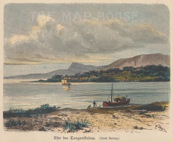 "Geiltbeck: Lake Tanganyika, Tanzania. 1897. A hand coloured original antique wood engraving. 5"" x 4"". [AFRp1167]"