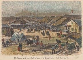 Gold Mining: Transvaal. View of Barbeton main street.