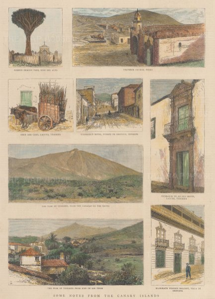 Canary Islands. Tenerife. Eight views including panoramas of the peak and street views at Ferro, Puerto de Oratava and Laguna.