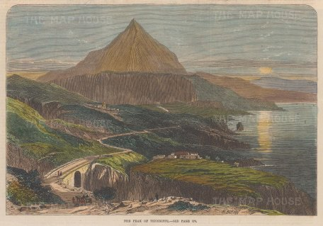 """Illustrated London News: Tenerife, Canary Islands. 1867. A hand coloured original antique wood engraving. 10"""" x 7"""". [AFRp1249]"""