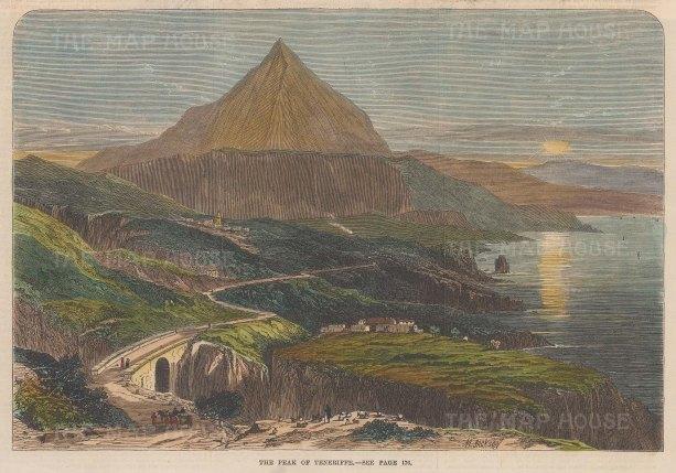 "Illustrated London News: Tenerife, Canary Islands. 1867. A hand coloured original antique wood engraving. 10"" x 7"". [AFRp1249]"