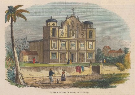 "Illustrated London News: Flores Church of Santa Cruz, Azores. 1844. A hand coloured original antique wood engraving. 6"" x 4"". [AFRp1261]"