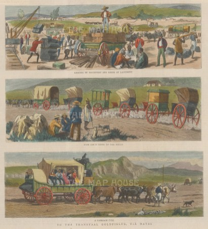 Gold Mining: Transvaal. Three views of workers travelling to the goldfields via Natal.