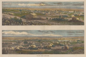 Diamond Fields of South Africa: Double panorama of the miners' camps