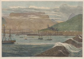 """Illustrated London News: Cape of Good Hope. 1870. A hand coloured original antique wood engraving. 14"""" x 10"""". [AFRp1320]"""