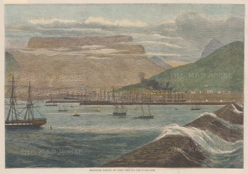 "Illustrated London News: Cape of Good Hope. 1870. A hand coloured original antique wood engraving. 14"" x 10"". [AFRp1320]"