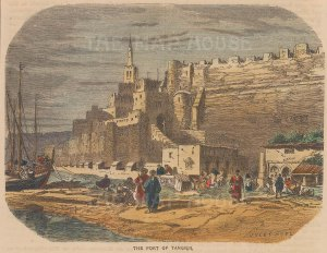 "Collins: Tangier, Morocco. c1870. A hand coloured original antique wood engraving. 8"" x 5"". [AFRp1330]"