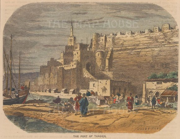 "Collins: Tangier, Morocco. c1870. A hand coloured original antique wood engraving. 8"" x 5"". [AFRp1330]"