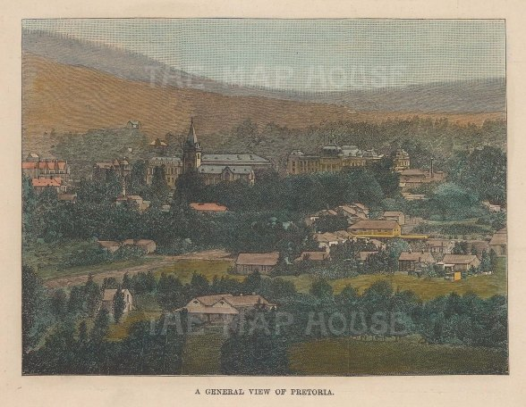 "Illustrated London News: Pretoria. 1896. A hand coloured original antique wood engraving. 6"" x 5"". [AFRp1332]"
