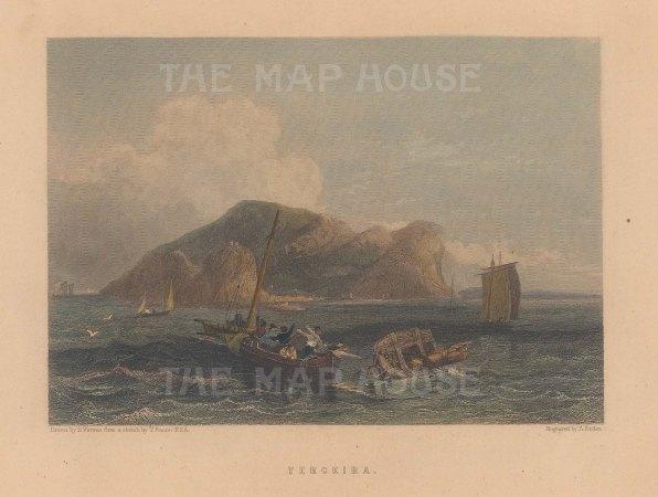 "Fullarton: Terceira, Azores. c1856. A hand coloured original antique steel engraving. 5"" x 4"". [AFRp1344]"