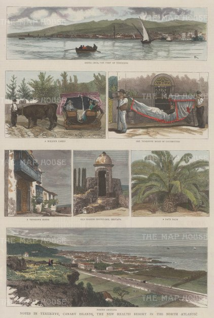 Canary Islands: Panoramas of Santa Cruz and Porto Orotava with five views of local life.