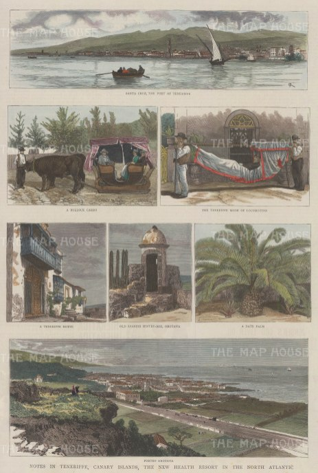 Canary Islands: Panoramas of Santa Cruz and Porto Orotava with five views of local life.