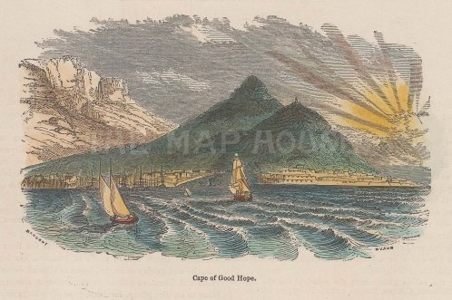 "Illustrated London News: Cape of Good Hope. c1880. A hand coloured original antique wood engraving. 4"" x 3"". [AFRp1361]"