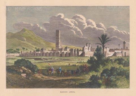 "Collins: Marrakech, Morocco. c1870. A hand coloured original antique wood engraving. 9"" x 6"". [AFRp1414]"