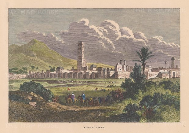 "Collins: Marrakech, Morocco. c1870. A hand coloured original antique wood engraving. 9"" x 6"". [AFRp1414]"