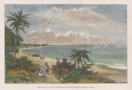 "Illustrated London News: Zanzibar. 1889. A hand coloured original antique wood engraving. 9"" x 6"". [AFRp1417]"