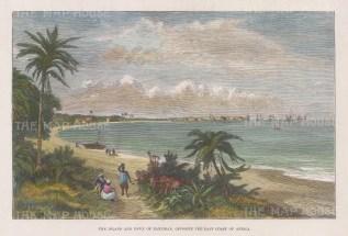"Illustrated London News: Zanzibar. 1889. A hand coloured original antique wood engraving. 9"" x 6"". [AFRp1417]"