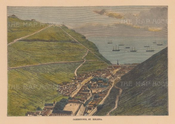 "Reclus: Jamestown, St Helena. 1894. A hand coloured original antique wood engraving. 8"" x 6"". [AFRp677]"