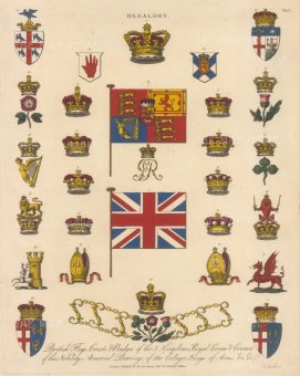 Great Britain. Flags, crests, badges, crowns, coronets and Arms. Key available.